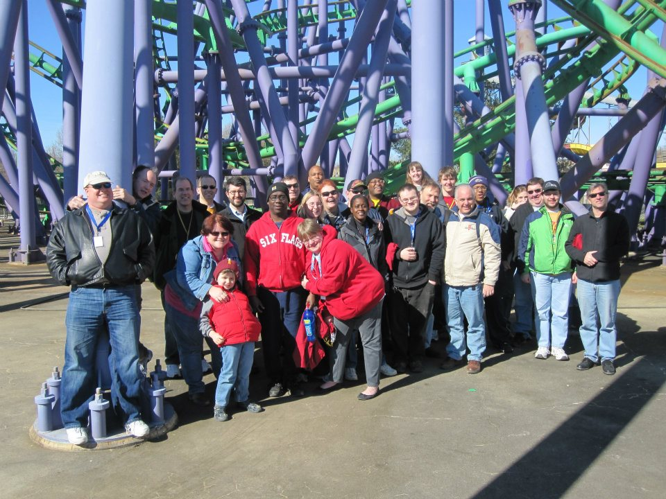 ACE poses for a group photo in front of Joker's Jinx during Jeepers It's Winter! in March 2011.